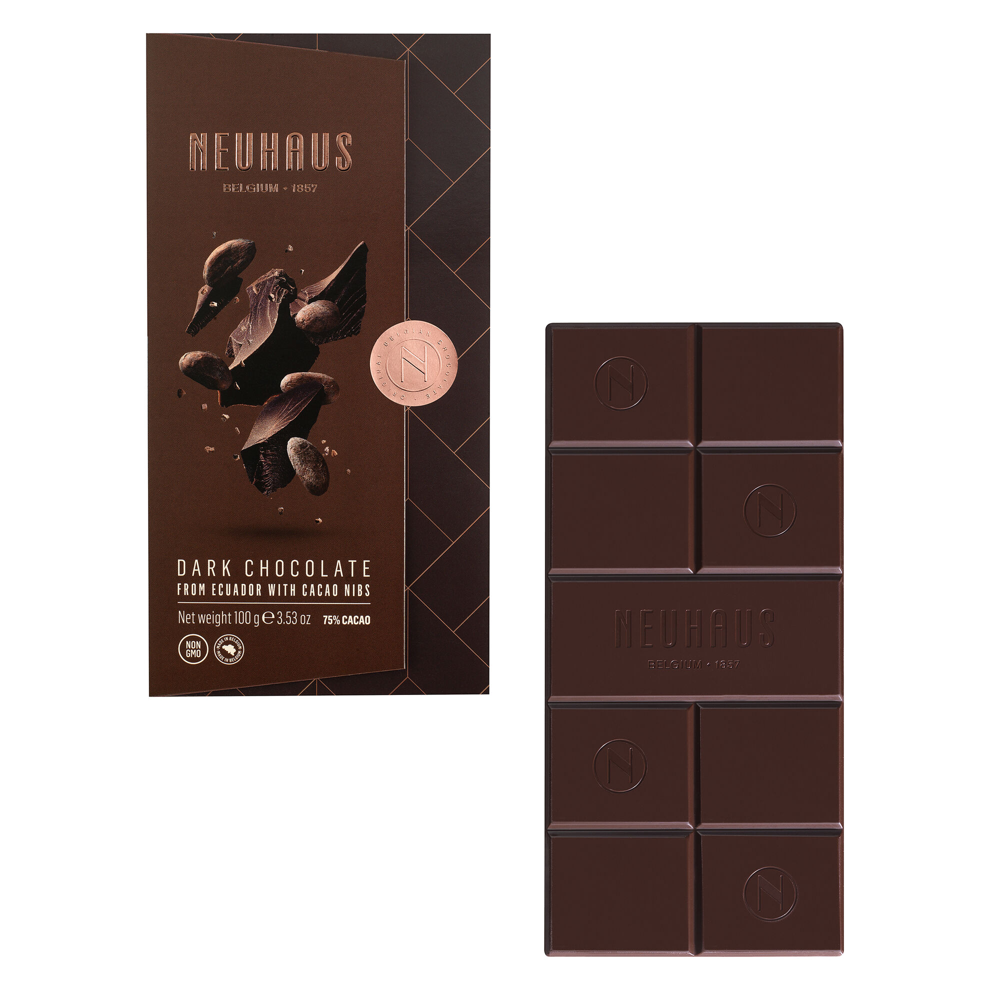 Dark Chocolate 75% with Cocoa Nibs Tablet image number 01
