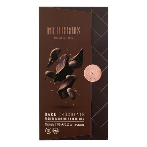 Dark Chocolate 75% with Cocoa Nibs Tablet image number 11
