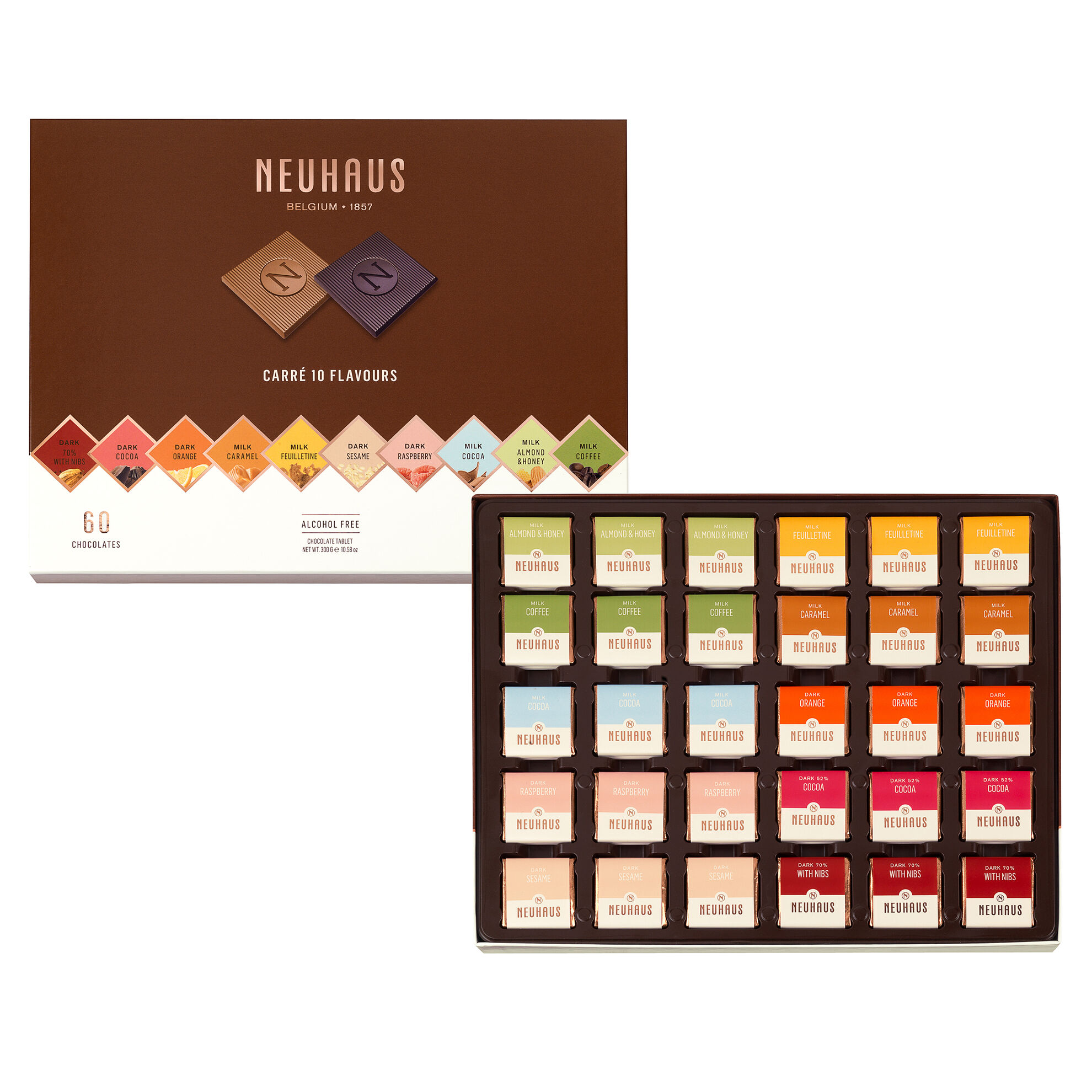 Belgian Chocolate Squares - Carré 10 Flavors 60 pcs image number 01
